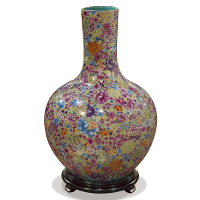 Hand Painted Imperial Canton Porcelain Chinese Floral Temple Vase