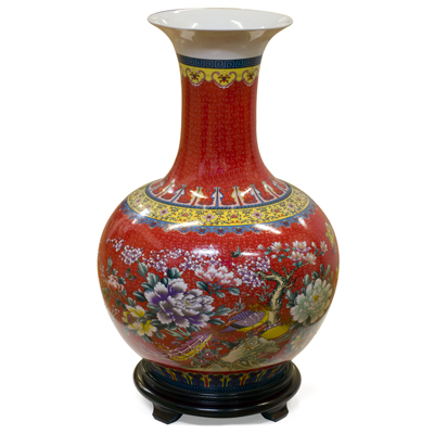 Red Flower and Birds Chinese Porcelain Temple Vase
