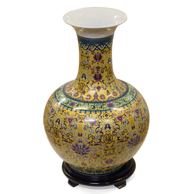 Gold Imperial Chinese Porcelain Temple Vase