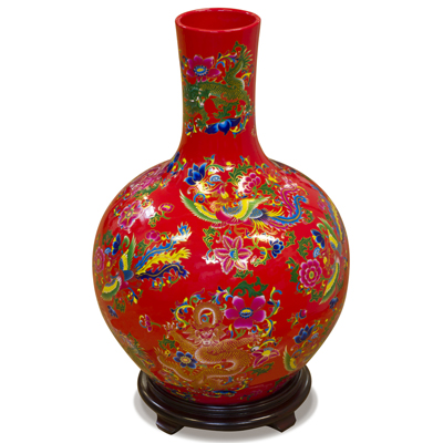 Red Dragon and Phoenix Imperial Chinese Porcelain Temple Vase