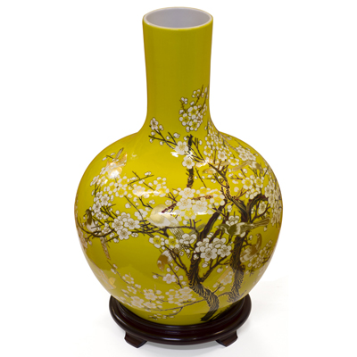 Yellow and Gold Cherry Blossom Chinese Porcelain Temple Vase