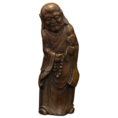 Bamboo Root Carving Monk Asian Sculpture