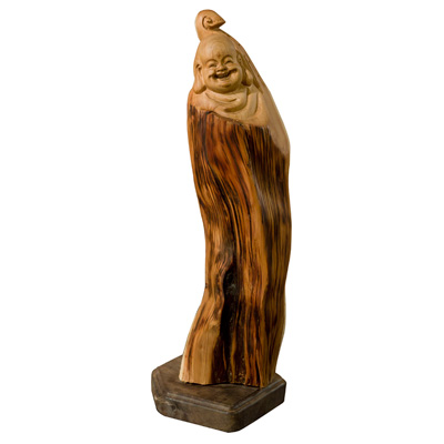 Cedar Wood Root Happy Buddha Asian Sculpture