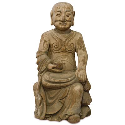 Vintage Wooden Monk Asian Sculpture