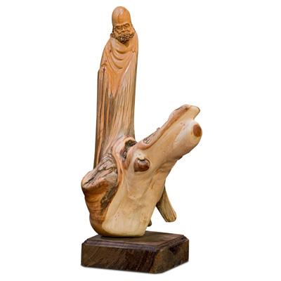 Cedar Wood Root Damo Asian Sculpture