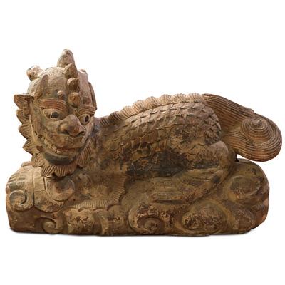 Vintage Wooden Kirin Asian Sculpture
