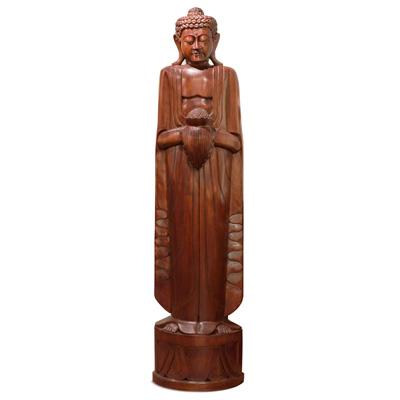 Grand Teakwood Thai Buddha Sculpture
