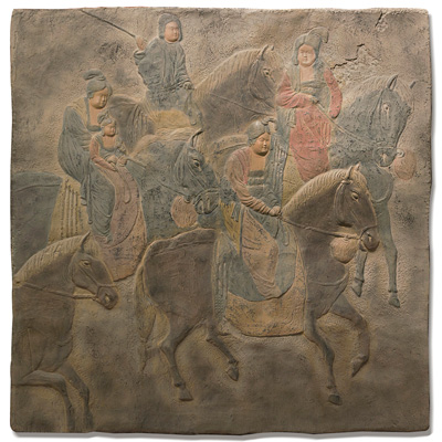 Tang Dynasty Chinese Wall Sculpture of Travelers