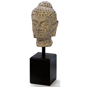 Meditative Buddha Head Asian Statue