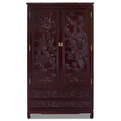 Dark Cherry Rosewood Dragon and Phoenix Chinese Armoire