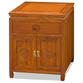 Natural Finish Rosewood Chinese Longevity Design Nightstand