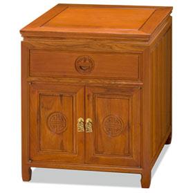 Natural Finish Rosewood Chinese Longevity Design Nightstand
