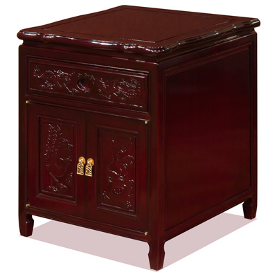 Dark Cherry Rosewood Dragon and Phoenix Oriental Nightstand