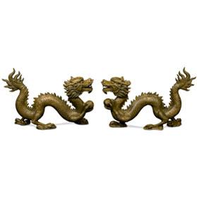 Large Bronze Flying Dragon Oriental Statue Set