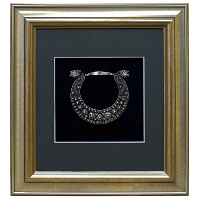 Miao Jewelry Dragon Heads Neck Ring Shadow Box