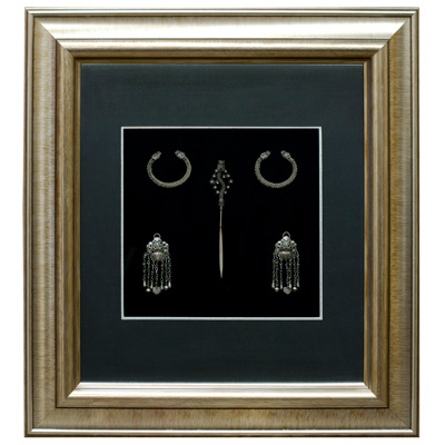 Miao Traditional Silver Dragon Motif Jewelry Set Shadow Box