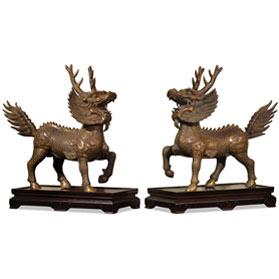 Bronze Marching Kirin Oriental Statue Set