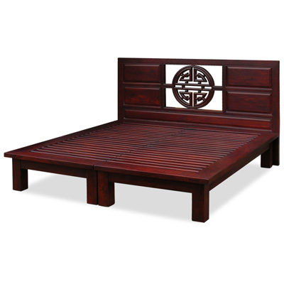 Dark Cherry Elmwood Yuan Yuan King Size Chinese Platform Bed