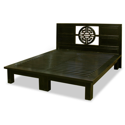 Distressed Black Elmwood Yuan Yuan King Size Chinese Platform Bed