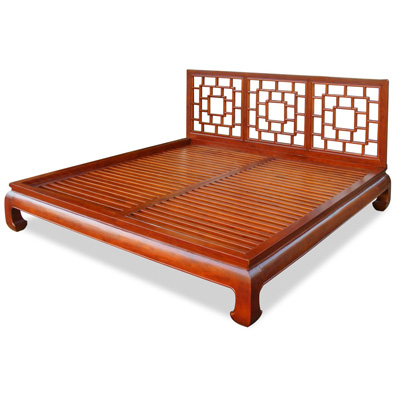 Honey Elmwood Ming King Size Chinese Platform Bed with Lattice Headboard