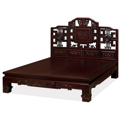 Dark Cherry Elmwood Imperial Qing Queen Size Chinese Platform Bed with Lattice Headboard