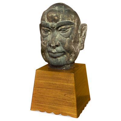 Distressed Stone Head Asian Sculpture