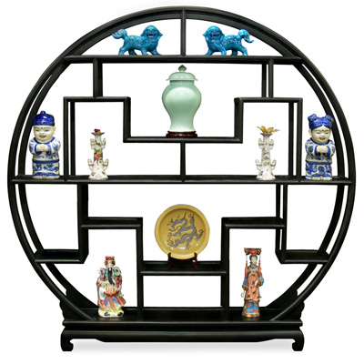 Matte Black Grand Elmwood Asian Moon Curio Stand
