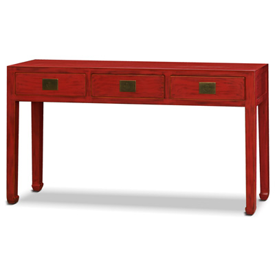 Distressed Red Elmwood Chinese Ming Console Table with 3 Drawers