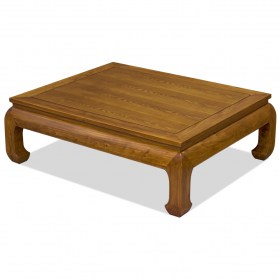 Walnut Finish Elmwood Chinese Ming Rectangle Coffee Table
