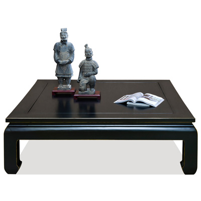 Distressed Black Elmwood Chinese Ming Kang Coffee Table
