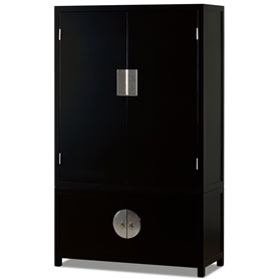 Matte Black Elmwood Chinese Qing Armoire