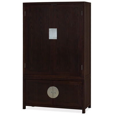 Dark Mahogany Finish Elmwood Chinese Qing Armoire