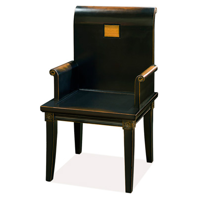 Distressed Black Elmwood Zhou Yi Asian Arm Chair