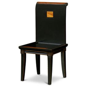 Distressed Black Elmwood Zhou Yi Asian Chair