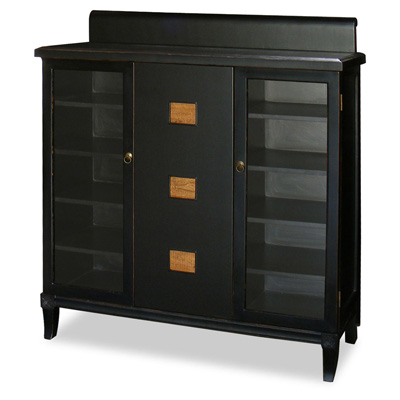 Distressed Black Elmwood Zhou Yi Asian Sideboard
