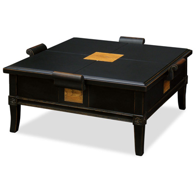 Distressed Black Elmwood Zhou Yi Square Asian Coffee Table