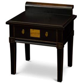 Distressed Black Elmwood Zhou Yi Asian Lamp Table