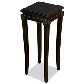 Distressed Black Elmwood Zhou Yi Asian Pedestal