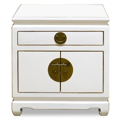 Elmwood Distressed White Chinese Ming Cabinet