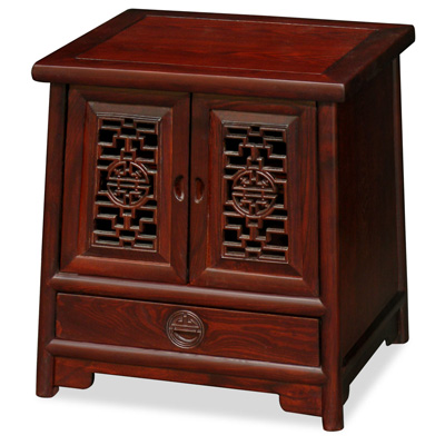 Dark Cherry Petite Elmwood Chinese Ming Cabinet with Lattice Doors