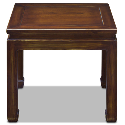 Distressed Mahogany Elmwood Chinese Ming Lamp Table