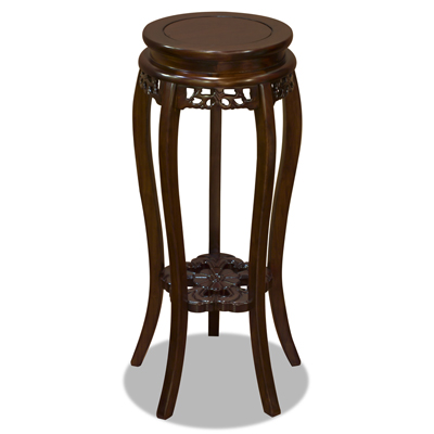 Mahogany Finish Elmwood Flower Motif Oriental Pedestal with Flower Base