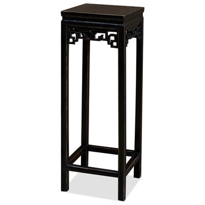 Distressed Black Elmwood Peking Cloud Oriental Pedestal