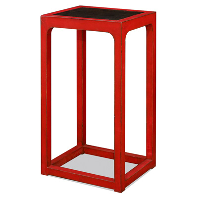 Distressed Red Elmwood Oriental Pedestal