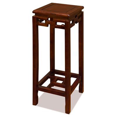 31.5 Inch Mahogany Finish Elmwood Chinese Key Pedestal