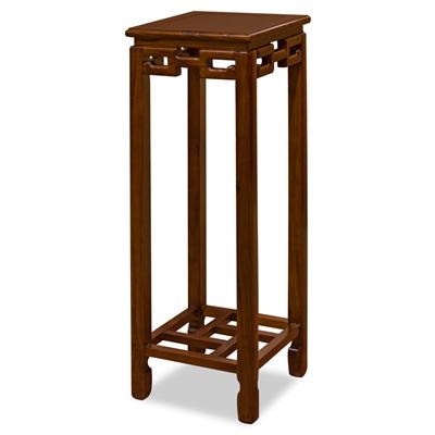 36 Inch Mahogany Finish Elmwood Chinese Key Pedestal