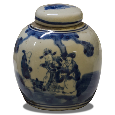 Blue and White Porcelain Chinoiserie Jar