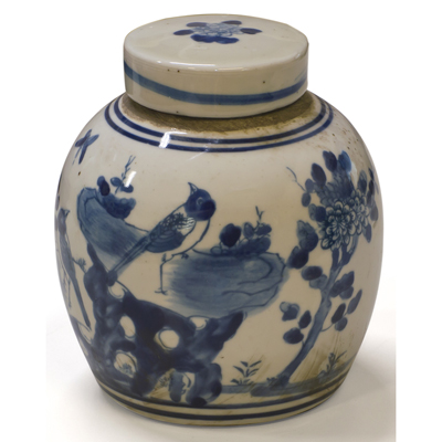 Blue and White Porcelain Flower and Bird Oriental Jar