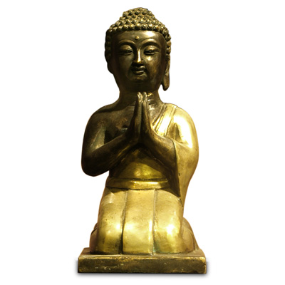 Kneeling Bronze Praying Buddha Oriental Statue