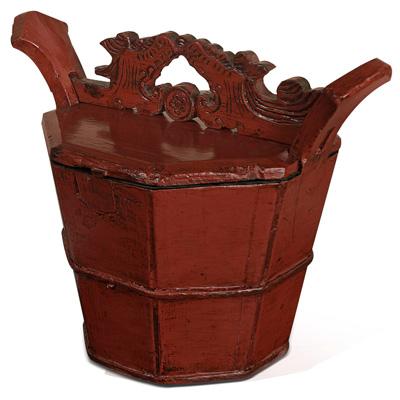 Distressed Red Oriental Wooden Bucket